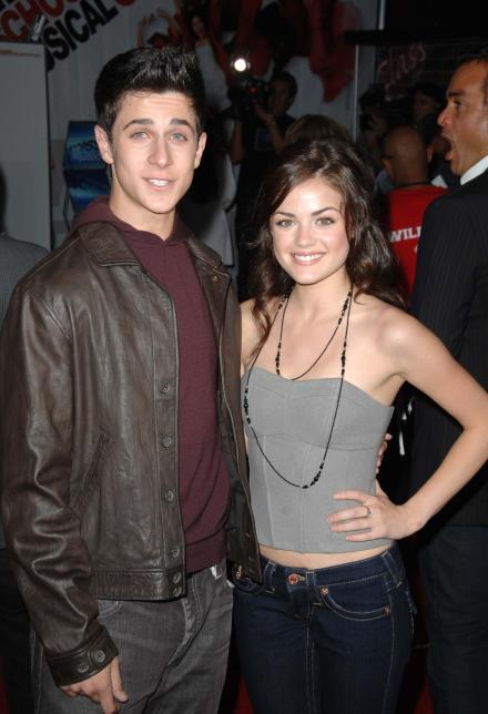 David Henrie and Lucy Hale posing together at the High School Musical 3