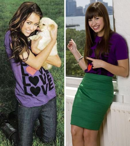 Demi Lovato vs. Miley Cyrus Miley-demi-shirt-showdown